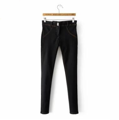 2018 New Autumn Winter Women Hip-up Jeans Sports Fitness Pencil Pants Warm Sexy Male Solid Color Long Slim Stretch Trousers