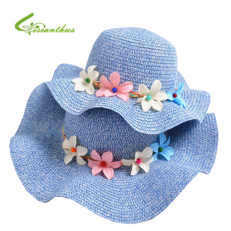 Fashion Girls Straw Hats Summer Baby Flower Decoration Lovely Children Sun Hat for Girls and Women Parent-Child Beach Caps