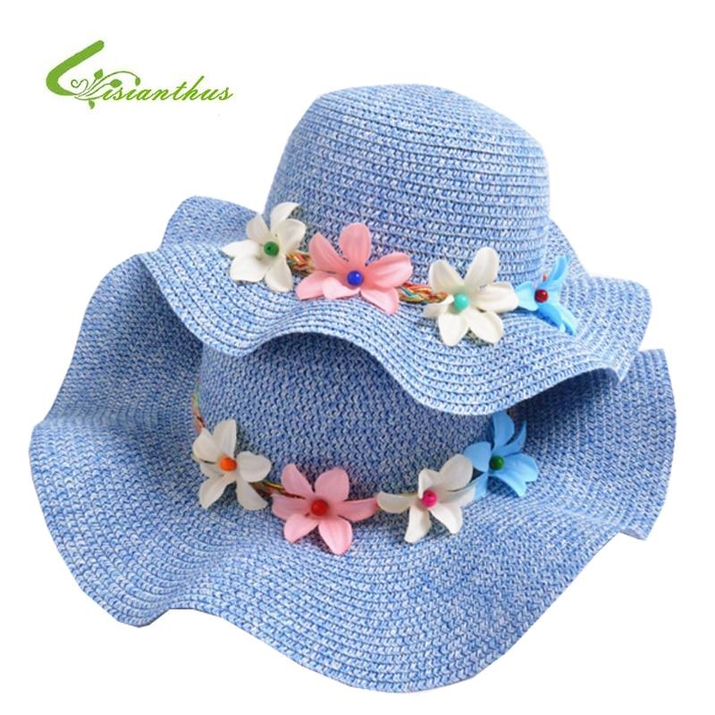 Fashion Girls Straw Hats Summer Baby Flower Decoration Lovely Children Sun Hat for Girls and Women Parent-Child Beach Caps
