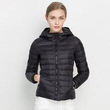 Женская зимняя куртка, новинка, ультра-светильник, пуховик на белом утином пуху, модный теплый тонкий пуховик с капюшоном для женщин, портативное пальто