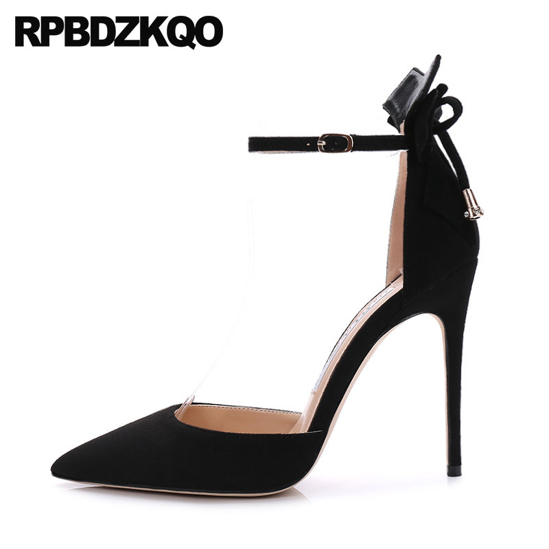 Celebrity Super High Heels Ankle Strap Extreme Sandals Women Size 33 Famous Pumps Suede Shoes Pointed Toe Ultra Bow Black Thin thin mesh extreme ultra ladies pumps size 33 big 12 44 super 10 42 green high heels shoes white pointed toe special novelty