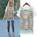 Kesebi New Hot 2017 Spring Summer Women European O-neck Printing Loose Chiffon T-shirts Female Casual Long Short Sleeve Tops