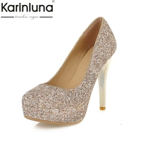 KARINLUNA Large Size 34 43 Bling Upper Thin High Heels Woman Shoes Sexy Gold Sliver Black