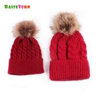 Raisevern 2017 Cute Parent Child Hat Mother Baby Autumn Winter Warm Cap Europe Styles Multi Color
