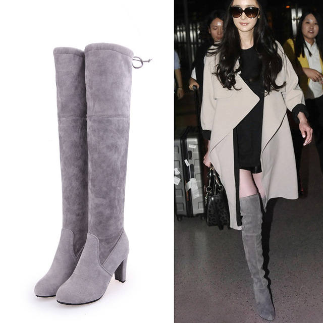 17be1c40690 Plus Size Flock Thigh High Boots Girls Flexible Over the Knee Boots Women  Ladies Long Boots Square Heel Runway Fashion Boots