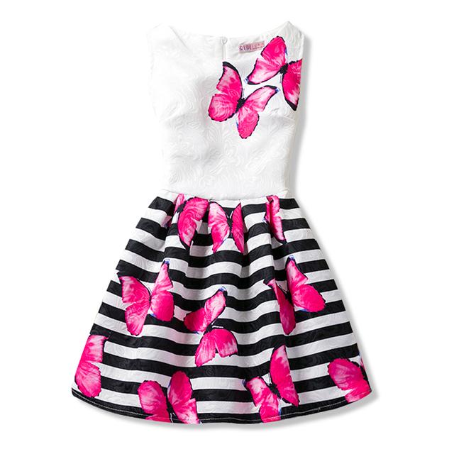 2018 Summer Dresses For Girl Butterfly Flower Sleeveless Formal Girl Dresses Teenagers Party Dress vestido infantil age 9  11 12