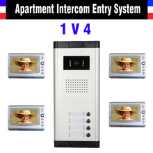Apartment Intercom System 7 Inch Mointor 4 Unit apartment video door phone intercom system Video Intercom doorbell doorphone Kit