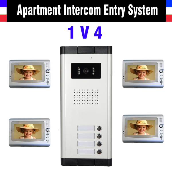 Apartment Intercom System 7 Inch Mointor 4 Unit apartment video door phone intercom system Video Intercom doorbell doorphone Kit apartment intercom system 7 inch mointor 4 unit apartment video door phone intercom system video intercom doorbell doorphone kit