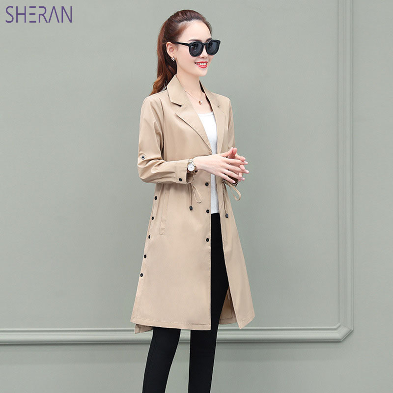 2018 Autumn Khaki   Trench   Coat Knee Length With Belts Office Womans Outwear Long Green   Trench   Coat For Women tallas grandes mujer