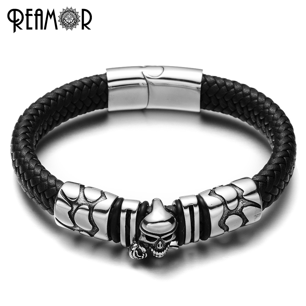 REAMOR 316L Stainless Steel Skeleton Rose Charms Male Bracelet Skull Head Style Bangles Black Wide Braided Leather Rope Bracelet