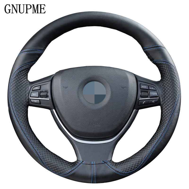 Anti-wear DIY Genuine Leather Soft Car Steering Wheel Cover 100% Cowhide Braid With Needles Thread 38cm Steering Wheel Covers