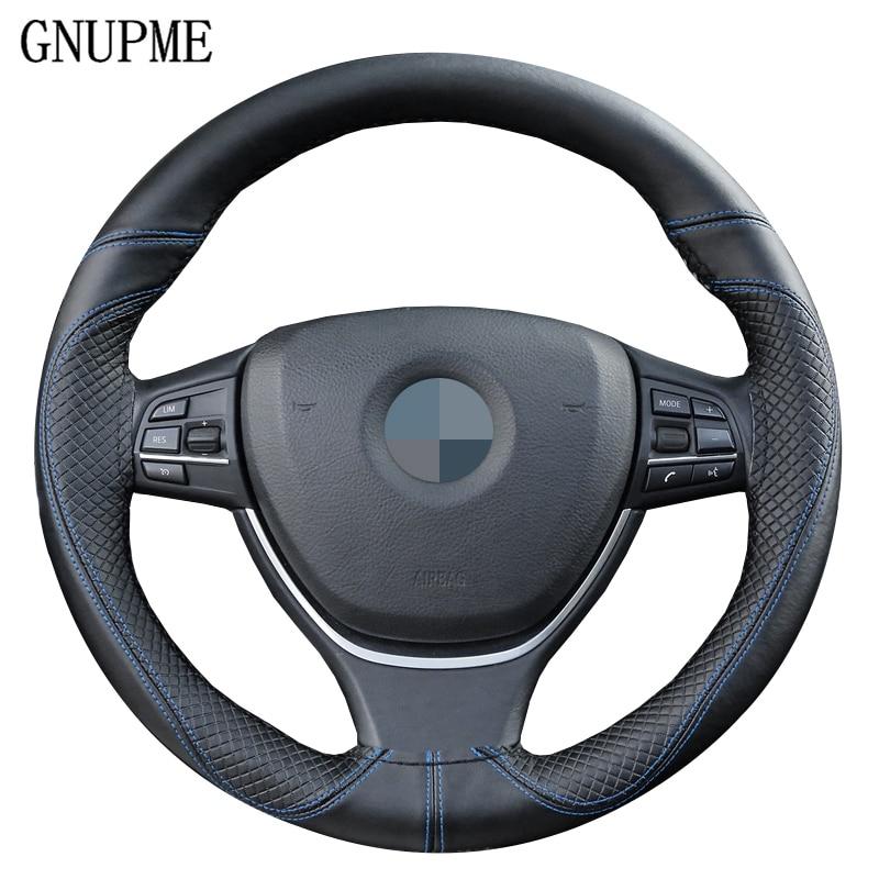 Anti-wear DIY Genuine Leather Soft Car Steering Wheel Cover 100% Cowhide Braid With Needles Thread 38cm Steering Wheel Covers