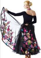 New 2016 customize embroidery flower foxtrot dance dresses flamenco rumba dresses ballroom waltz dress