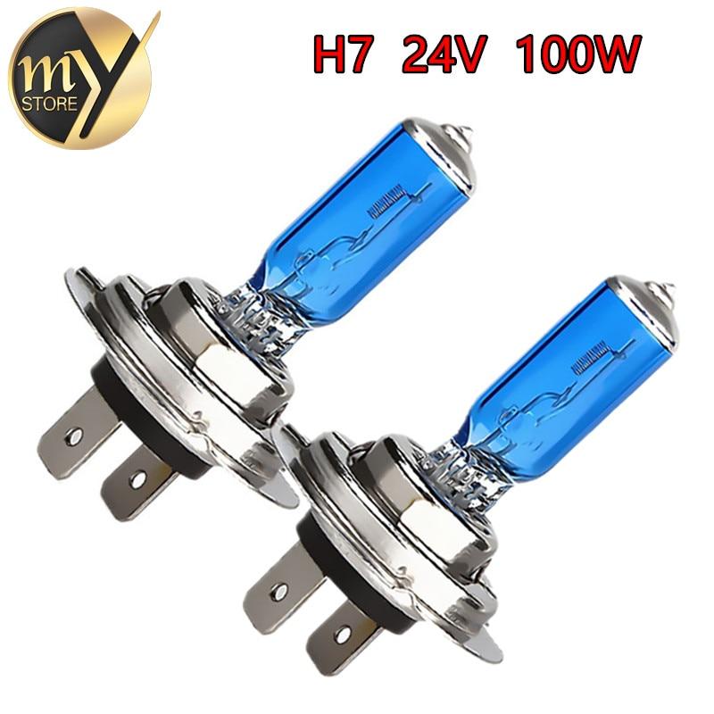 2pcs 24V H7 100 W ampoule halogène super lumineux antibrouillards haute puissance lampe de phare de voiture source de lumière de voiture parking blanc 6000K