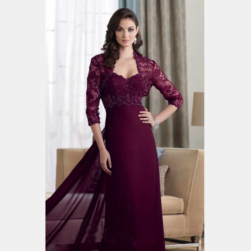 2016 tres cuartos de manga mangas de encaje elegante púrpura rojo - Vestidos de fiesta de boda