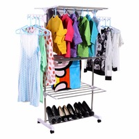 Homdox Foldable Laundry Clothes Drying Rack Home Household Cloth Shoes Hanger Home Furniture