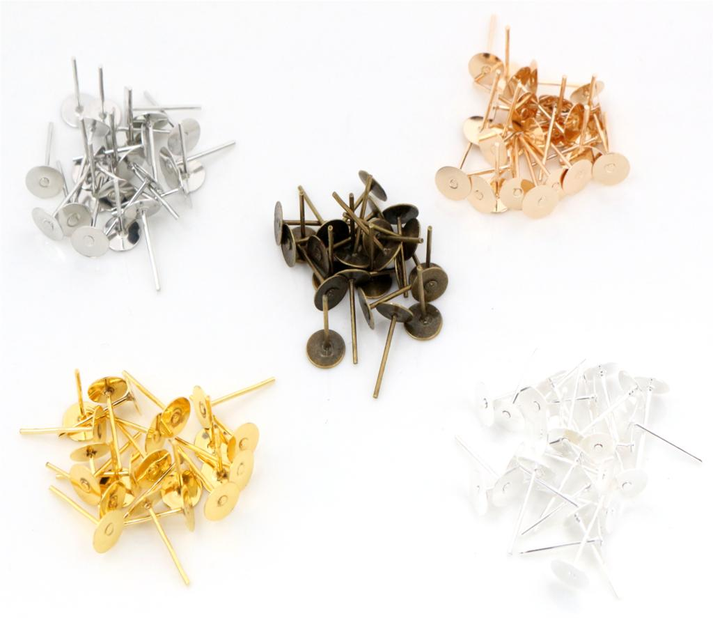 6mm 100pcs/Lot Fashion 5 Colors Plated Stainless Iron Earring Studs blank base Earring Post (with Stopper) Base 100pcs lot stainless steel blank post earring studs pins silver gold color flat round tray base 6 8mm ear jewelry findings