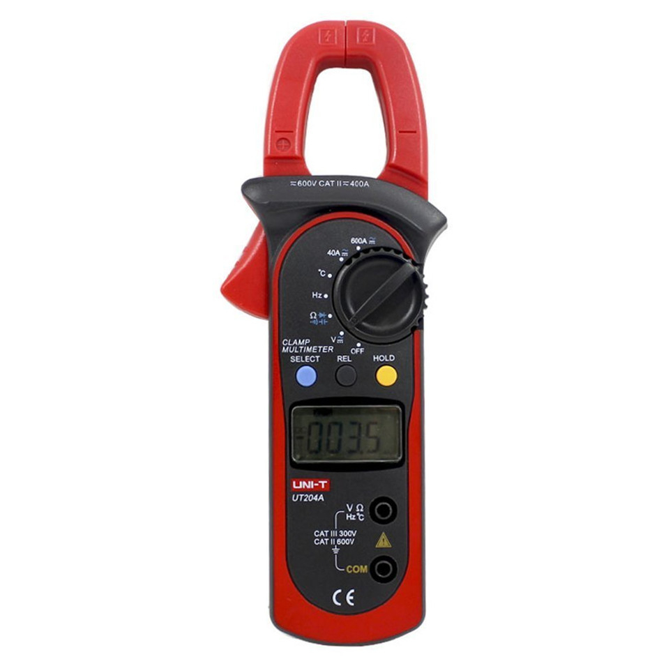 UNI-T UT204A DC/AC Voltage Current Digital Clamp Meter with Resistance, Capacitance, Frequency and Temperature Measurement meter ut61a transistor resistance digital capacitance measurement test three and a half