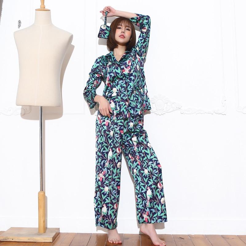 2017 Printemps Automne Dame chemise De Soie vêtements de Nuit Des Femmes 3 Pièces nuit Robe correction d'oeil Bref revers à manches longues Tops Sexy Longue pantalon