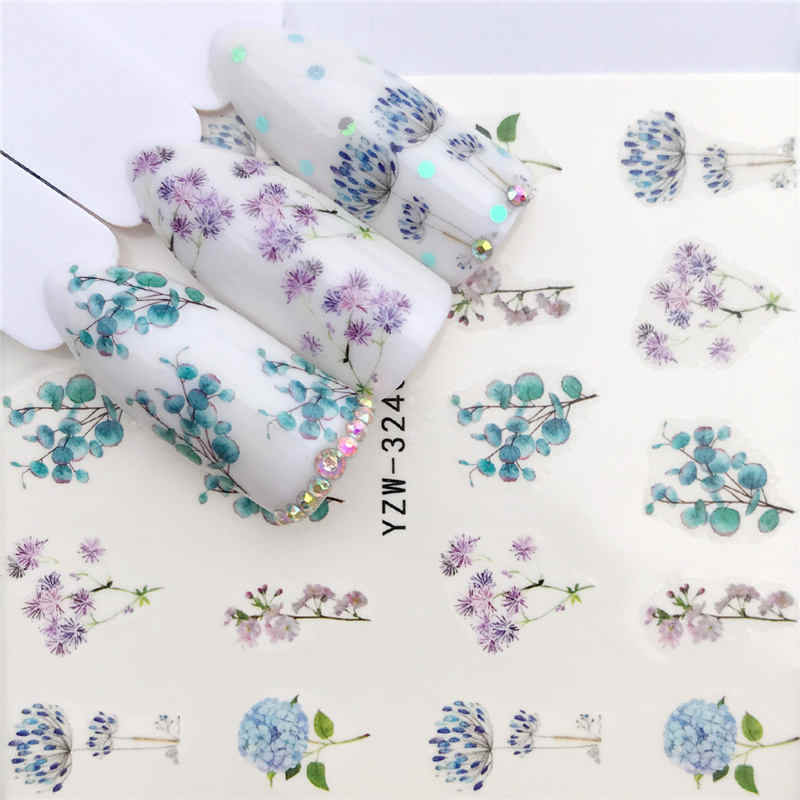LCJ 1 PC Colored Flowers / Green grass / Lavender  Nail Stickers Nail Transfer Decals Accessories Tip Manicure Tool