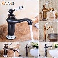 Solid Brass Deck Mounted Bathroom Sink Basin Faucet Black Brass Ceramic Single Handle Retro Style Mixer