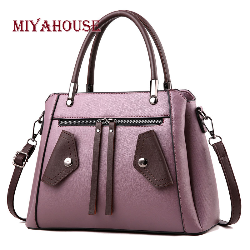 Miyahouse Solid Color Shoulder Bag For Women PU Leather Classic Messenger Bag For Female Business Style Crossbody Bag For Women concise nylon and solid color design crossbody bag for women