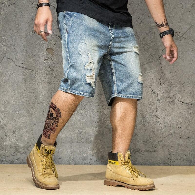 Designer Men High Quality Classic Men Denim Shorts 2019 Summer Thin Short Ripped Hole Jeans Plus USA Size 28 44 46