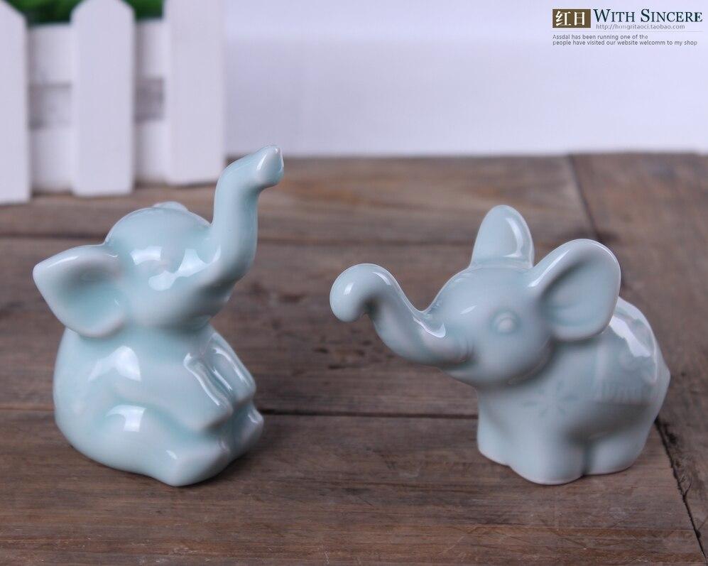 Tea Pet Mini White Ceramic Ceramic Elephant Home Decor
