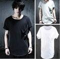 Exclusivo dos homens Bolso Casuais Solta Algodão de Manga Curta T-shirt Preto Branco Cinza Verão Top Tees Moda Masculina Camiseta Hombre