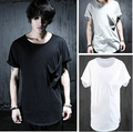 Hombres Único de Bolsillo Flojo Ocasional de Algodón de Manga Corta Camisetas Negro Blanco Gris de Verano Top Tees Moda Masculina Camiseta Hombre