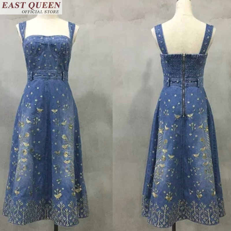 ג 'ינס שמלות קיץ לנשים פרחוני ארוך ג' ינס שמלה קיצית טוניקת יכול כתף שמלה קיצית ג 'ינס שמלות FF177