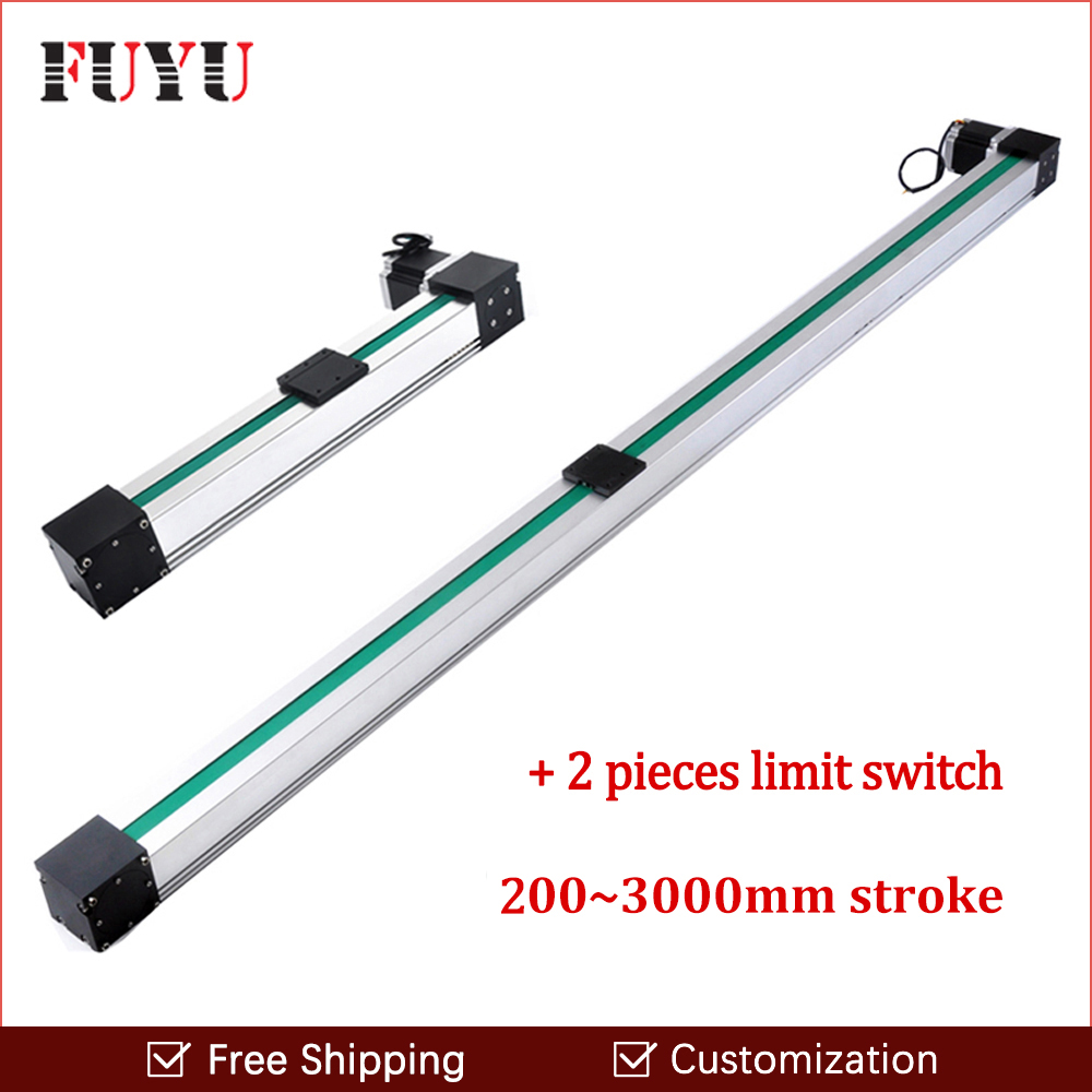Free shipping high speed 500~3000mm stroke belt drive linear guide rail motion slide actuator module for cnc linear position kit belt driven linear slide rail belt drive guideway professional manufacturer of actuator system axis positioning