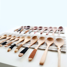 style wooden spoon tableware wood wooden spoon coffee spoon long handle spoons knife and fork