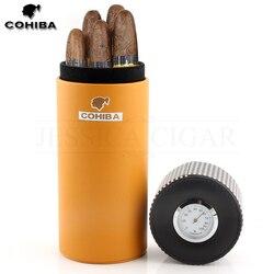 COHIBA кожаный дорожный хьюмидор, коробка для сигар из кедрового дерева, портативный чехол для сигар с гигрометром и увлажнителем, коробка для ...