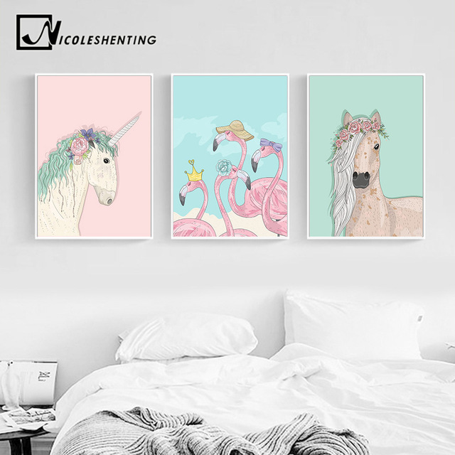 Unicorn Horse Flamingo Wall Art Canvas Posters and Prints Painting ...