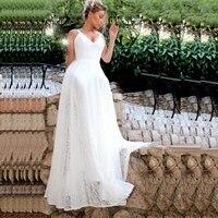 Кружева Пляжные Свадебные платья 2019 Лори Vestidos De Casamento сексуальное свадебное платье с открытой спиной Большие размеры свадебное платье