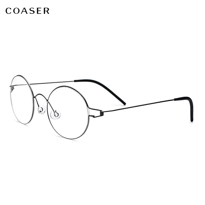No Screwless design Super Lighter Round Metal Glasses frame Optical Metal Eyeglasses For Men Women Myopia