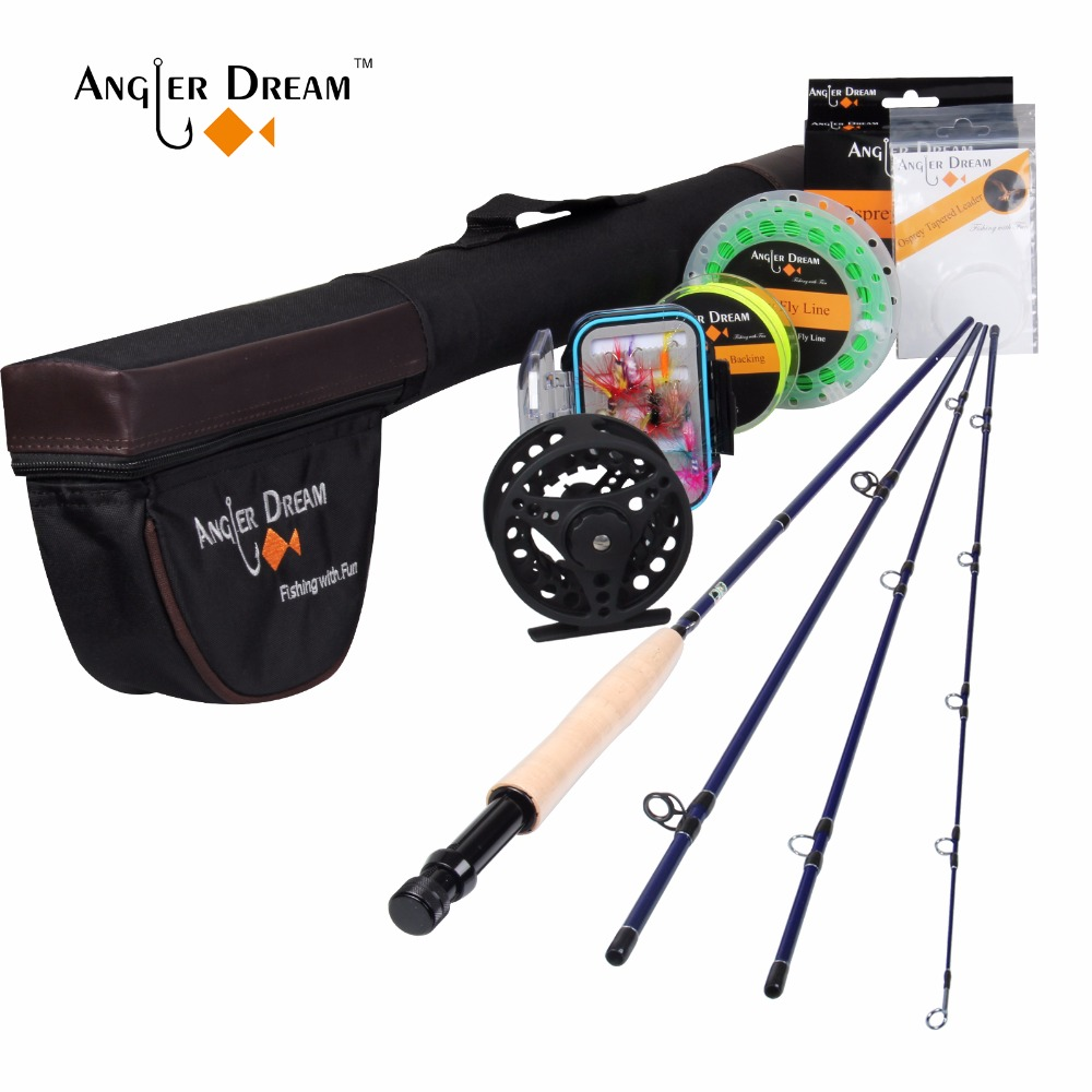 Angler Dream 3/5WT Fly Fishing Combo 24SK Carbon Fiber Fly Rod and 3/4 5/6WT Fly Reel Floating Fishing Line Backing Leader angler dream fly fishing combo 3 4 5 8wt carbon fiber fly rod kit cnc machined fly fishing reel