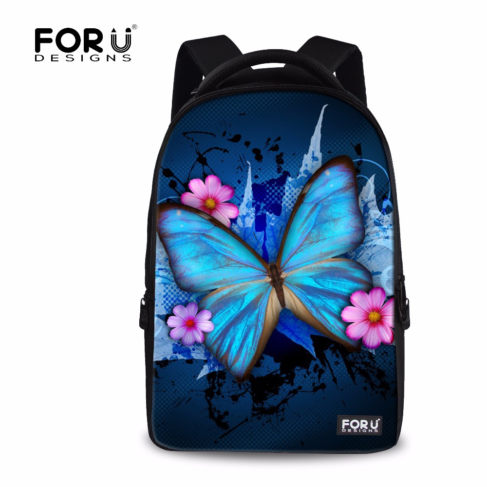 FORUDESIGNS 3D Animal Butterfly Printing Backpack for Teenage Girls Casual Student School Laptop Mochila Backpacks for Women forudesigns casual backpack for women men large cute animal cat dog printing college student school backpack laptop bags mochila