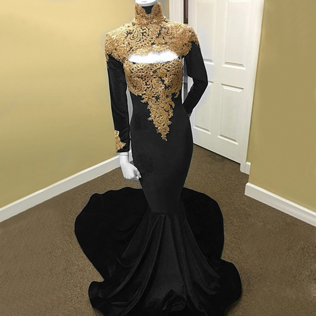 7824fed613442 US $116.25 25% OFF|Elegant Black Velvet Mermaid Evening Dress With Gold  Lace High Neck Long Sleeve Sweep Train 2019 Formal Prom Gowns Custom  Made-in ...
