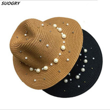 SUOGRY Summer British Pearl Beading Flat Brimmed Straw Hat Shading Sun Hat Lady Fashion Beach Hat Jazz Hat multi brimmed sinamay hat