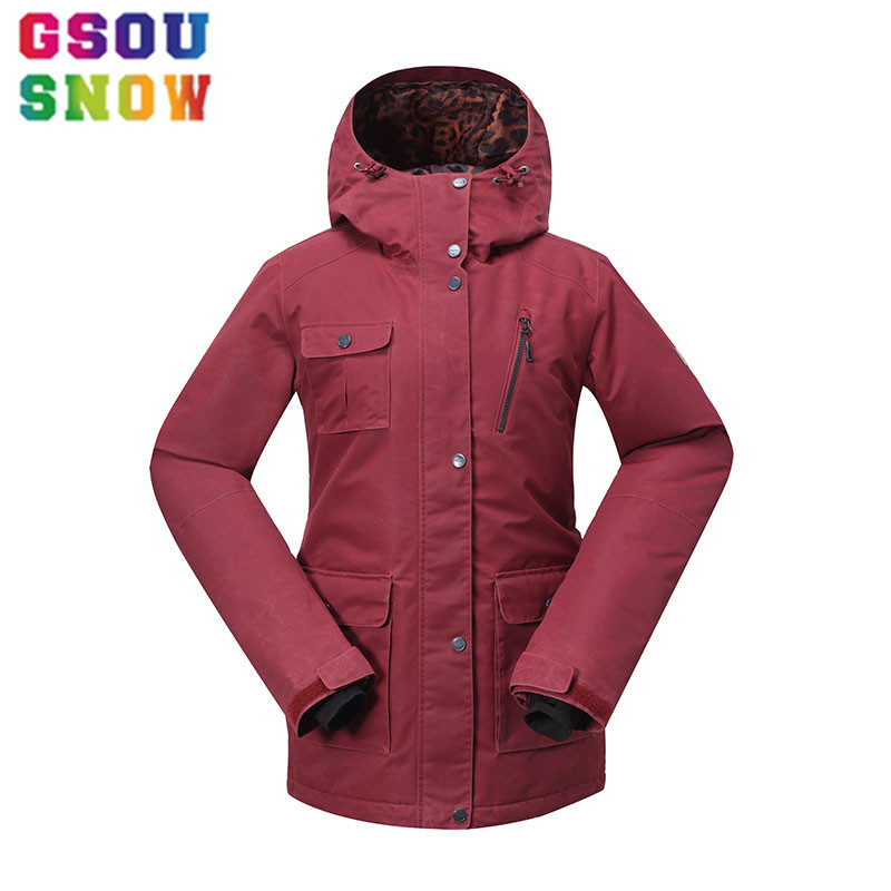 GSOU SNOW Women's Ski Jacket Waterproof Snowboard Jacket Plus Size Winter Skiing Suit Female Outdoor Sport Ski Clothes Snow Coat