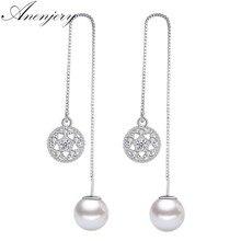 ANENJERY – boucles d'oreilles en argent Sterling 925, Micro Zircon, fleur de lotus, pour femmes, perles, oorbellen, S-E584