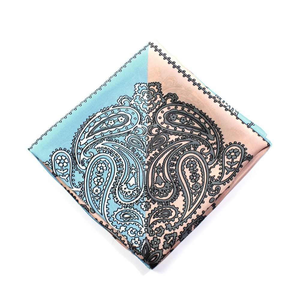 Paisley Bandana kare ipek eşarp saten kışlık eşarplar kadınlar erkekler için baskı Pastel lüks Patchwork bayanlar dekoratif 70cm x 70cm