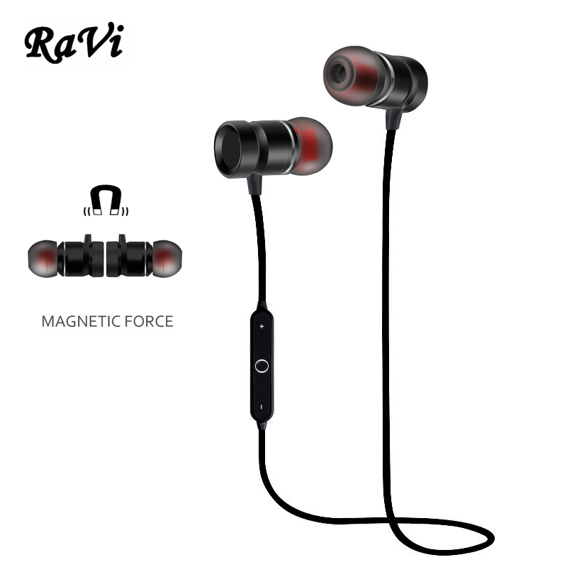 RAVI Bluetooth Headphones Sport Running Headphone Wireless Earphone Magnetic Headset Audifonos For iphone Sumsang Xiaomi Airpods remax 2 in1 mini bluetooth 4 0 headphones usb car charger dock wireless car headset bluetooth earphone for iphone 7 6s android