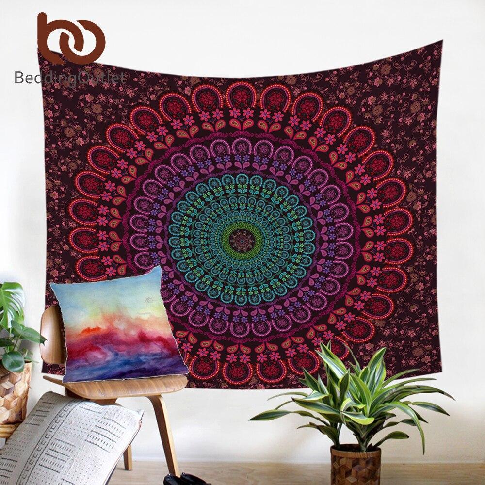 BeddingOutlet Indische Hippie Böhmen Tapisserie Mandala Wandteppich 200 cm Indische Mikrofaser Bettlaken Weichen Wand Teppich 2017