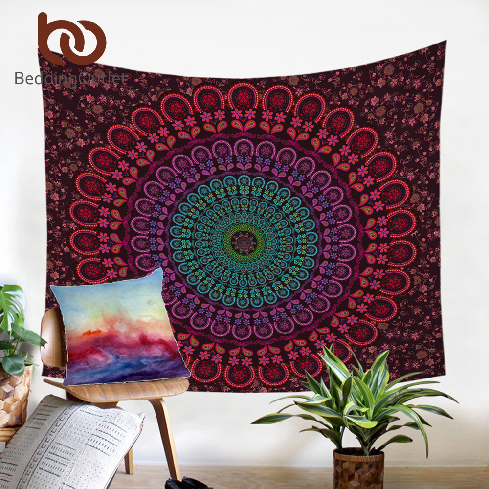 BeddingOutlet Indische Hippie Böhmen Tapisserie Mandala Wandteppich 200 cm Indische Mikrofaser Bett Blatt Weichen Wand Teppich 2017