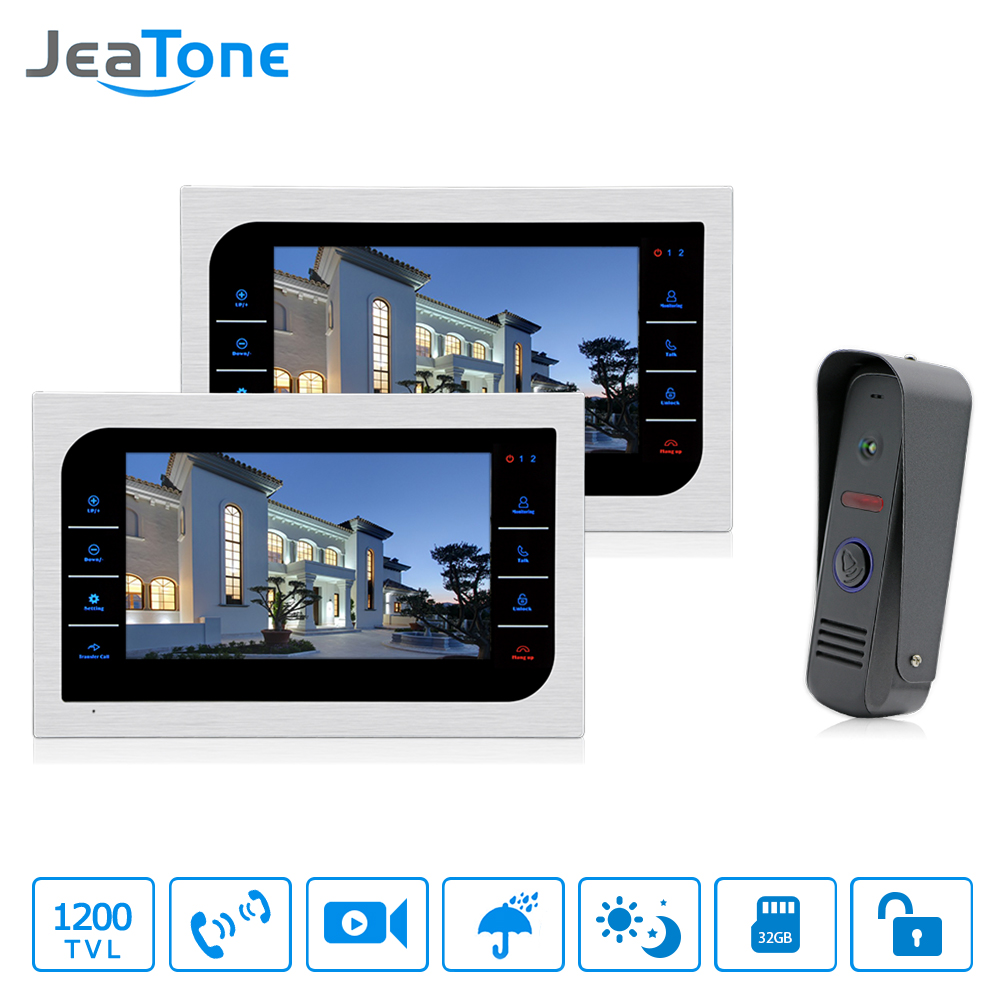 JeaTone 10'' Video Door Phone Intercom System Support Recording & Picture Memory Touch Key Indoor Monitor 2V1 Home Apartment Kit