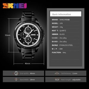 Image 5 - SKMEI NEW Business Men Quartz Watches Alloy Strap Large Dial Watch Waterproof Wirstwatch Relogio Masculino 1378 erkek kol saati