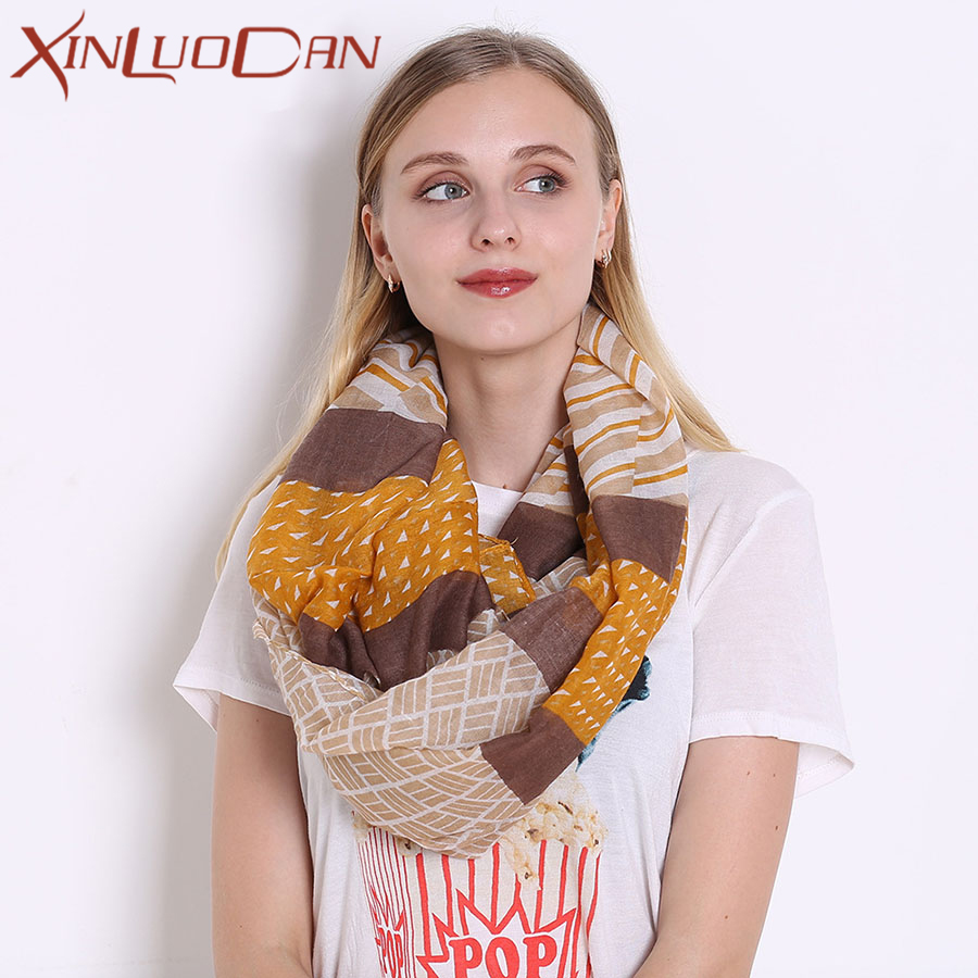 Women Scarf Plaid Wool Collar Ring Knitted Winter Scarf Luxury Brand Neck Warmer Womens Scarves WN003